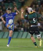 12 September 2019; Ross Byrne of Leinster in action against David Ribbans of Northampton Saints during the Pre-season friendly match between Northampton Saints and Leinster at Franklin Gardens in Northampton, England. Photo by Darren Staples/Sportsfile
