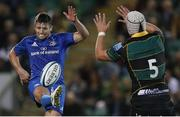 12 September 2019; Ross Byrne of Leinster during the Pre-season friendly match between Northampton Saints and Leinster at Franklin Gardens in Northampton, England. Photo by Darren Staples/Sportsfile