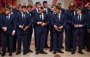 13 September 2019; Ireland players, including Sean Cronin, Andrew Porter, captain Rory Best, Bundee Aki and Keith Earls after receiving their World Cup caps during their World Cup 2019 Welcome Ceremony at Mihama Bunka Hall Hall in Chiba Prefecture, Japan. Photo by Brendan Moran/Sportsfile
