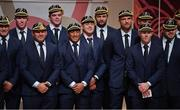 13 September 2019; Ireland players, including Josh van der Flier, Chris Farrell, captain Rory Best, James Ryan, Bundee Aki, CJ Stander, Iain Henderson, Tadhg Beirne Keith Earls and Cian Healy after receiving their World Cup caps during their World Cup 2019 Welcome Ceremony at Mihama Bunka Hall Hall in Chiba Prefecture, Japan. Photo by Brendan Moran/Sportsfile
