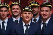 13 September 2019; Ireland players, from left, Joey Carbery, Jack Carty, Andrew Conway, Rob Kearney and Niall Scannell with their RWC2019 caps during their Rugby World Cup 2019 Welcome Ceremony at Mihama Bunka Hall Hall in Chiba Prefecture, Japan. Photo by Brendan Moran/Sportsfile