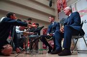 13 September 2019; Jonathan Sexton, in the company of team manager Paul Deane,  is interviewed by the media after the Ireland Rugby World Cup 2019 Welcome Ceremony at Mihama Bunka Hall Hall in Chiba Prefecture, Japan. Photo by Brendan Moran/Sportsfile