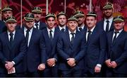 13 September 2019; Ireland players, from left, Robbie Henshaw, Keith Earls, Cian Healy, Jack Conan, Joey Carbery, Jack Carty, Andrew Conway, Rob Kearney, Niall Scannell, Jean Kleyn and Dave Kilcoyne with their RWC2019 caps during their Rugby World Cup 2019 Welcome Ceremony at Mihama Bunka Hall Hall in Chiba Prefecture, Japan. Photo by Brendan Moran/Sportsfile
