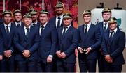 13 September 2019; Ireland players, from left, Joey Carbery, Jack Carty, Andrew Conway, Rob Kearney, Niall Scannell, Jean Kleyn and Dave Kilcoyne, Jonathan Sexton, Jacob Stockdale and Jordan Larmour with their RWC2019 caps during their Rugby World Cup 2019 Welcome Ceremony at Mihama Bunka Hall Hall in Chiba Prefecture, Japan. Photo by Brendan Moran/Sportsfile
