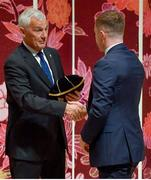 13 September 2019; Luke McGrath is presented with his RWC2019 cap by Deputy CEO of the Rugby World Cup Organising Committee Gerald Davies during the Ireland Rugby World Cup 2019 Welcome Ceremony at Mihama Bunka Hall Hall in Chiba Prefecture, Japan. Photo by Brendan Moran/Sportsfile