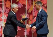 13 September 2019; Rob Kearney is presented with his RWC2019 cap by Deputy CEO of the Rugby World Cup Organising Committee Gerald Davies during the Ireland Rugby World Cup 2019 Welcome Ceremony at Mihama Bunka Hall Hall in Chiba Prefecture, Japan. Photo by Brendan Moran/Sportsfile