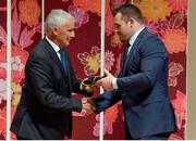 13 September 2019; Cian Healy is presented with his RWC2019 cap by Deputy CEO of the Rugby World Cup Organising Committee Gerald Davies during the Ireland Rugby World Cup 2019 Welcome Ceremony at Mihama Bunka Hall Hall in Chiba Prefecture, Japan. Photo by Brendan Moran/Sportsfile