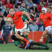13 September 2019; Jeremy Loughman of Munster is tackled by Lovejoy Chawatama of London Irish during the Pre-season friendly match between Munster and London Irish at the Irish Independent Park in Cork. Photo by Matt Browne/Sportsfile