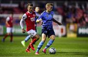 13 September 2019; Paul Doyle of UCD in action against Darragh Markey of St Patricks Athletic during the SSE Airtricity League Premier Division match between St Patrick's Athletic and UCD at Richmond Park in Dublin.  Photo by Sam Barnes/Sportsfile