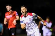 13 September 2019; Aidan Friel of Shelbourne celebrates after scoring his side's first goal during the SSE Airtricity League First Division match between Drogheda United and Shelbourne at United Park in Drogheda, Louth.  Photo by Stephen McCarthy/Sportsfile