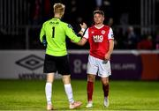 13 September 2019; Dean Clarke of St Patricks Athletic and Conor Kearns of UCD shake hands following the SSE Airtricity League Premier Division match between St Patrick's Athletic and UCD at Richmond Park in Dublin.  Photo by Sam Barnes/Sportsfile