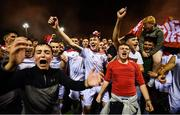 13 September 2019; Shelbourne players and supporters celebrate promotion to the SSE Airtricity League Premier Division following the SSE Airtricity League First Division match between Drogheda United and Shelbourne at United Park in Drogheda, Louth. Photo by Stephen McCarthy/Sportsfile