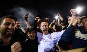 13 September 2019; Shane Farrell of Shelbourne with supporters as they celebrate promotion to the SSE Airtricity League Premier Division following the SSE Airtricity League First Division match between Drogheda United and Shelbourne at United Park in Drogheda, Louth. Photo by Stephen McCarthy/Sportsfile