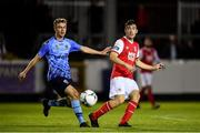 13 September 2019; Lee Desmond of St Patricks Athletic in action against Mark Dignam of UCD during the SSE Airtricity League Premier Division match between St Patrick's Athletic and UCD at Richmond Park in Dublin.  Photo by Sam Barnes/Sportsfile