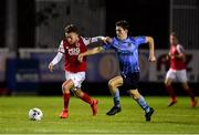13 September 2019; Darragh Markey of St Patricks Athletic in action against Dara Keane of UCD during the SSE Airtricity League Premier Division match between St Patrick's Athletic and UCD at Richmond Park in Dublin.  Photo by Sam Barnes/Sportsfile