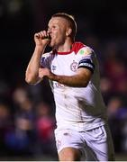 13 September 2019; Lorcan Fitzgerald of Shelbourne celebrates after scoring his side's third goal during the SSE Airtricity League First Division match between Drogheda United and Shelbourne at United Park in Drogheda, Louth.  Photo by Stephen McCarthy/Sportsfile