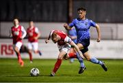 13 September 2019; Glen McAuley of St Patricks Athletic in action against Harry McEvoy of UCD during the SSE Airtricity League Premier Division match between St Patrick's Athletic and UCD at Richmond Park in Dublin.  Photo by Sam Barnes/Sportsfile