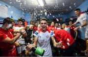 13 September 2019; Jaze Kabia and his Shelbourne team-mates celebrates promotion to the SSE Airtricity League Premier Division following the SSE Airtricity League First Division match between Drogheda United and Shelbourne at United Park in Drogheda, Louth.  Photo by Stephen McCarthy/Sportsfile