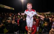 13 September 2019; Shane Farrell of Shelbourne celebrates promotion to the SSE Airtricity League Premier Division following the SSE Airtricity League First Division match between Drogheda United and Shelbourne at United Park in Drogheda, Louth.  Photo by Stephen McCarthy/Sportsfile