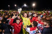 13 September 2019; Shelbourne goalkeeper Colin McCabe and supporters celebrate promotion to the SSE Airtricity League Premier Division following the SSE Airtricity League First Division match between Drogheda United and Shelbourne at United Park in Drogheda, Louth.  Photo by Stephen McCarthy/Sportsfile