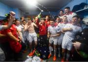 13 September 2019; Shelbourne players celebrate promotion to the SSE Airtricity League Premier Division following the SSE Airtricity League First Division match between Drogheda United and Shelbourne at United Park in Drogheda, Louth.  Photo by Stephen McCarthy/Sportsfile