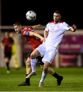 13 September 2019; Ciarán Kilduff of Shelbourne in action against Kevin Farragher of Drogheda United during the SSE Airtricity League First Division match between Drogheda United and Shelbourne at United Park in Drogheda, Louth.  Photo by Stephen McCarthy/Sportsfile