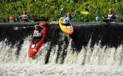 14 September 2019; Jarlath Colleran, left, with, Michael Liddle from Canoeing Ireland, Ireland, competing in the K1 Class C Mens Over 39s Kayaks event during The 60th Liffey Descent on the River Liffey at Lucan Weir in Lucan, Co Dublin. Photo by Seb Daly/Sportsfile