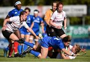 14 September 2019; Victoria Dabavonich O'Mahony of Leinster is brought to the ground by Katie Hetherington of Ulster during the Women's Interprovincial Championship Semi-Final match between Leinster and Ulster at St Mary's RFC in Templeogue, Dublin. Photo by Ben McShane/Sportsfile