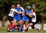 14 September 2019; Linda Djougang of Leinster is tackled by Katie Hetherington of Ulster during the Women's Interprovincial Championship Semi-Final match between Leinster and Ulster at St Mary's RFC in Templeogue, Dublin. Photo by Ben McShane/Sportsfile