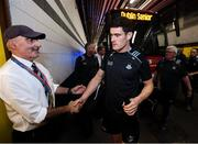 14 September 2019; Diarmuid Connolly of Dublin is greeted by Martin McKenna, who is on duty on the Dublin dressing room, on arrival prior to the GAA Football All-Ireland Senior Championship Final Replay between Dublin and Kerry at Croke Park in Dublin. Photo by Stephen McCarthy/Sportsfile