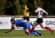 14 September 2019; Lindsay Peat of Leinster dives over to score her side's fourth try despite the tackle of Ella Durkan of Ulster during the Women's Interprovincial Championship Semi-Final match between Leinster and Ulster at St Mary's RFC in Templeogue, Dublin. Photo by Ben McShane/Sportsfile
