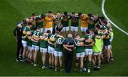 14 September 2019; Kerry manager Peter Keane speaks to his players ahead of the GAA Football All-Ireland Senior Championship Final Replay match between Dublin and Kerry at Croke Park in Dublin. Photo by Daire Brennan/Sportsfile