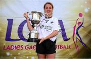 14 September 2019; Aoife McAnespie of Emyvale, Co Monaghan with the Senior Championship Final trophy after they beat The Banner, Co Clare during the 2019 LGFA All-Ireland Club 7s at Naomh Mearnóg & St Sylvesters in Dublin. Photo by Michael P Ryan/Sportsfile
