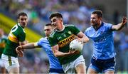 14 September 2019; Seán O'Shea of Kerry in action against Jack McCaffrey, right, and John Small of Dublin during the GAA Football All-Ireland Senior Championship Final Replay match between Dublin and Kerry at Croke Park in Dublin. Photo by David Fitzgerald/Sportsfile