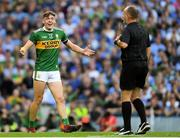 14 September 2019; David Clifford of Kerry remonstrates with Referee Conor Lane during the GAA Football All-Ireland Senior Championship Final Replay match between Dublin and Kerry at Croke Park in Dublin. Photo by Ramsey Cardy/Sportsfile