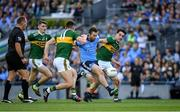 14 September 2019; Jack McCaffrey of Dublin in action against Seán O'Shea, 11, and Brian Ó Beaglaoich of Kerry during the GAA Football All-Ireland Senior Championship Final Replay match between Dublin and Kerry at Croke Park in Dublin. Photo by Ray McManus/Sportsfile