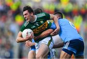 14 September 2019; David Moran of Kerry in action against David Byrne, hidden, and James McCarthy of Dublin during the GAA Football All-Ireland Senior Championship Final Replay match between Dublin and Kerry at Croke Park in Dublin. Photo by Sam Barnes/Sportsfile