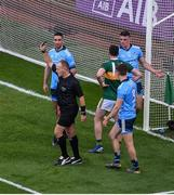 14 September 2019; Referee Conor Lane shows Michael Fitzsimons of Dublin a black card during the GAA Football All-Ireland Senior Championship Final Replay match between Dublin and Kerry at Croke Park in Dublin. Photo by Daire Brennan/Sportsfile