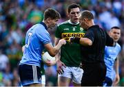 14 September 2019; Michael Fitzsimons of Dublin and David Moran of Kerry remonstrate with Referee Conor Lane during the GAA Football All-Ireland Senior Championship Final Replay match between Dublin and Kerry at Croke Park in Dublin. Photo by David Fitzgerald/Sportsfile