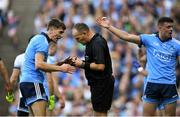 14 September 2019; Referee Conor Lane in conversation with Michael Fitzsimons of Dublin, before appearing to show him a black card, during the GAA Football All-Ireland Senior Championship Final Replay between Dublin and Kerry at Croke Park in Dublin. Photo by Piaras Ó Mídheach/Sportsfile