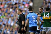 14 September 2019; Referee Conor Lane appears to show a black card to Michael Fitzsimons of Dublin, 3, during the GAA Football All-Ireland Senior Championship Final Replay between Dublin and Kerry at Croke Park in Dublin. Photo by Piaras Ó Mídheach/Sportsfile