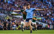 14 September 2019; Con O'Callaghan of Dublin takes a shot on goal despite the attention of Tom O'Sullivan of Kerry during the GAA Football All-Ireland Senior Championship Final Replay match between Dublin and Kerry at Croke Park in Dublin. Photo by Sam Barnes/Sportsfile