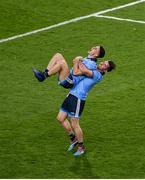 14 September 2019; Michael Darragh MacAuley celebrates with team-mate David Byrne after the GAA Football All-Ireland Senior Championship Final Replay match between Dublin and Kerry at Croke Park in Dublin. Photo by Daire Brennan/Sportsfile
