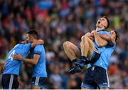 14 September 2019; Michael Darragh Macauley, left, celebrates with team-mate David Byrne of Dublin following the GAA Football All-Ireland Senior Championship Final Replay match between Dublin and Kerry at Croke Park in Dublin. Photo by Eóin Noonan/Sportsfile