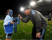 14 September 2019; 10-year-old Dublin supporter Grace Dorman with Dublin manager Jim Gavin following the GAA Football All-Ireland Senior Championship Final Replay between Dublin and Kerry at Croke Park in Dublin. Photo by Stephen McCarthy/Sportsfile