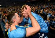 14 September 2019; Brian Fenton of Dublin celebrates with a Dublin supporter following the GAA Football All-Ireland Senior Championship Final Replay match between Dublin and Kerry at Croke Park in Dublin. Photo by Eóin Noonan/Sportsfile