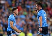 14 September 2019; Michael Darragh Macauley, right, celebrates with team-mate David Byrne of Dublin following the GAA Football All-Ireland Senior Championship Final Replay match between Dublin and Kerry at Croke Park in Dublin. Photo by Eóin Noonan/Sportsfile