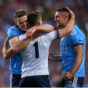 14 September 2019; Stephen Cluxton celebrates with Brian Fenton, left, and James McCarthy, right, following the GAA Football All-Ireland Senior Championship Final Replay match between Dublin and Kerry at Croke Park in Dublin. Photo by Eóin Noonan/Sportsfile