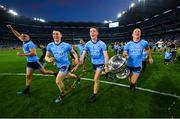 14 September 2019; Dublin players, from left, Brian Howard, John Small, Brian Fenton and Ciarán Kilkenny celebrates with the Sam Maguire Cup following the GAA Football All-Ireland Senior Championship Final Replay between Dublin and Kerry at Croke Park in Dublin. Photo by Seb Daly/Sportsfile
