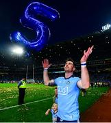 14 September 2019; Michael Darragh MacAuley of Dublin celebrates with a 5 balloon following the GAA Football All-Ireland Senior Championship Final Replay match between Dublin and Kerry at Croke Park in Dublin. Photo by David Fitzgerald/Sportsfile
